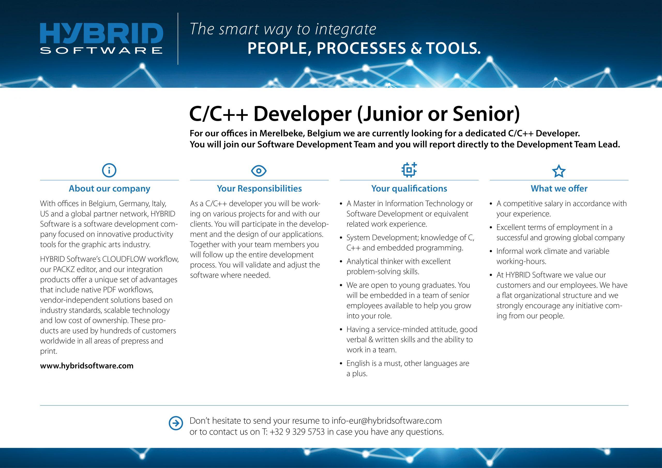 HYBRID Software Job C/C++ Developer (Junior or Senior)