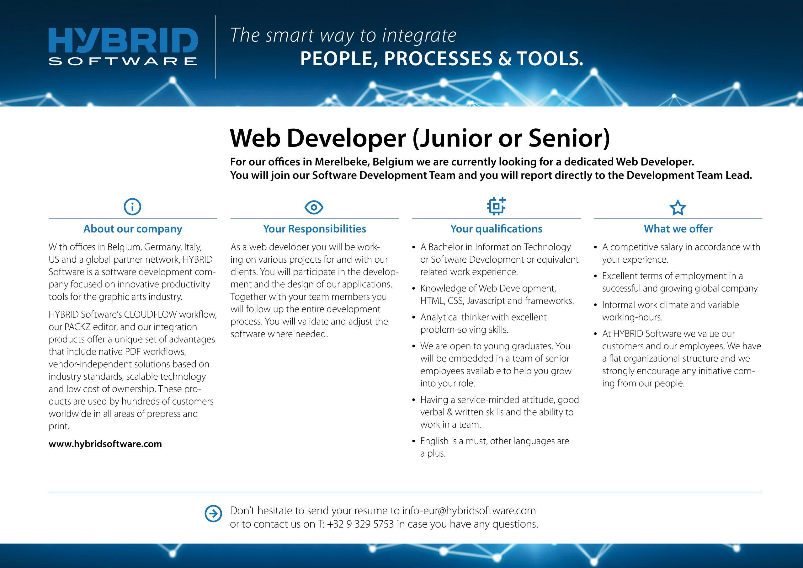 HYBRID Software Web Developer Job Ad