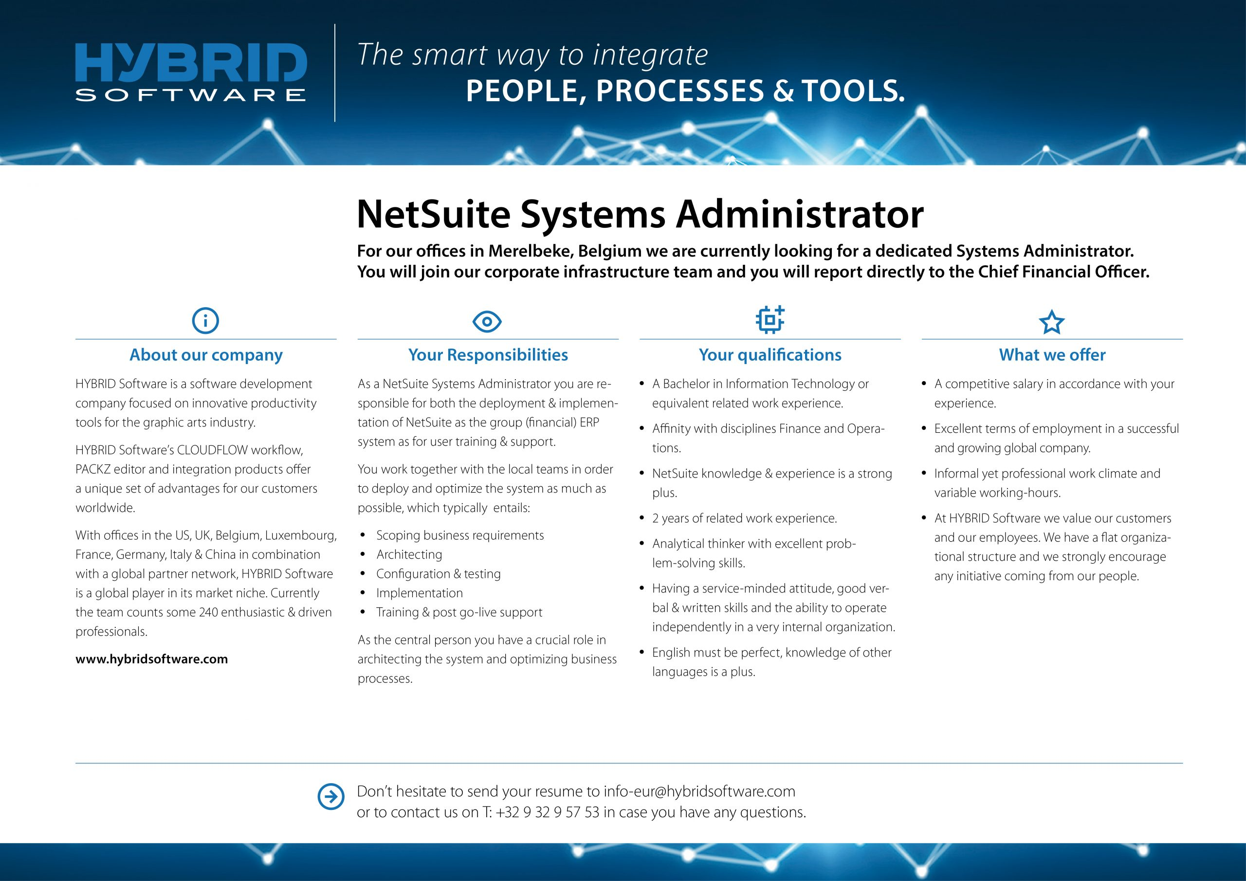 HYBRID Software Netsuite Systems Administrator Job Ad
