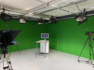 FIlm set with cameras and lights for HYBRID Software