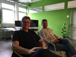 HYBRID Software employees behind the scenes on film day